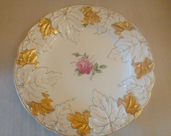 Beautiful old handmade plate 30cm with goldstaffage hand painted,