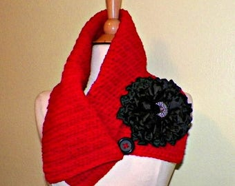 On Sale- Red Cowl Scarf Infinity Button Neckwarmer Collar  With Flower Brooch Freeform Crochet