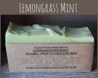 Soap / Lemongrass Mint / Cold Process Soap / Essential oil soap / Hemp Soap / Organic Soap / Avocado Soap / all natural soaps / Lemongrass /