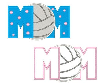 Volleyball Mom Machine Embroidery Design Applique Volleyball Embroidery Designs Sports Filled Stitch 4X4 5X7 6X10 8X8 Instant Download