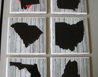 DESTASH State Silhouette Themed Ceramic Tile Coasters - Set of 4