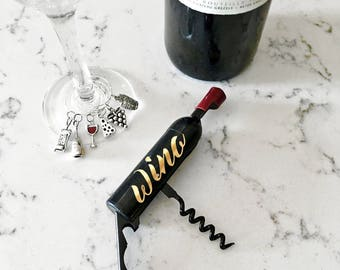 Gift Set: Customizable Wine Bottle Opener And Magnet + Wine Themed Wine Charms