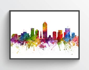 Indianapolis Indiana Skyline Poster, Indianapolis Cityscape, Indianapolis Art, Indianapolis Decor, Home Decor, Gift Idea, USININ06P