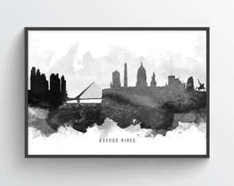 Buenos Aires Skyline Poster, Buenos Aires Cityscape, Buenos Aires Print, Buenos Aires Art, Buenos Aires Decor, Home Decor, ARBA11P