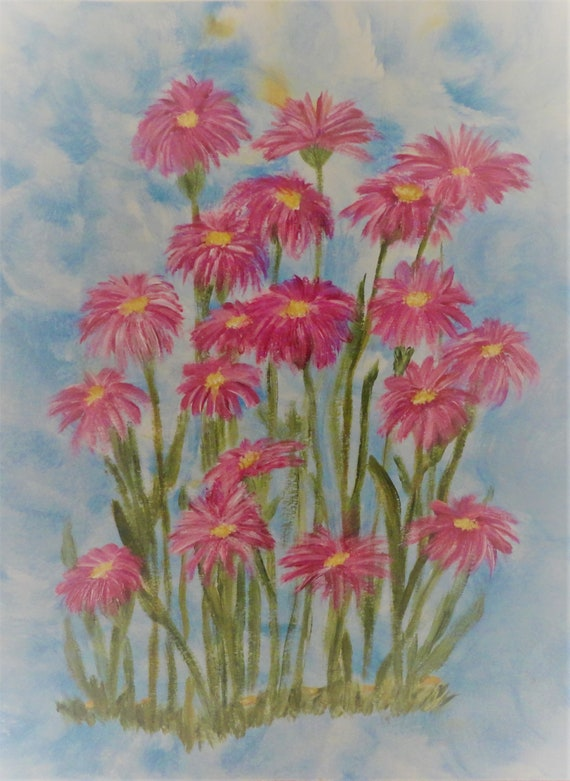 Asters in Acrylics on 140 lb. acid-free watercolor paper hand-painted by artist Rosie Foshee
