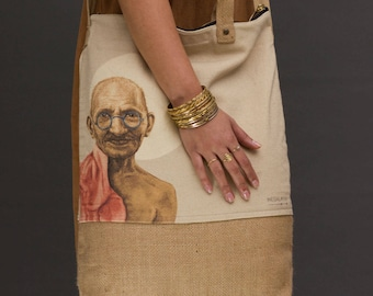 gandhi original art, Cross body bag, Womens Bags, Market bag, printed Tote bag, Vegan Bag, Jute bag, big tote bag, large bag, canvas bag