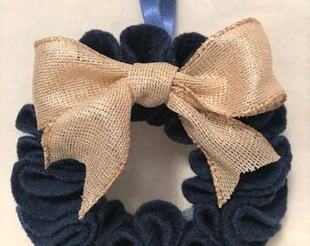 Felted Wool Wreath // Navy Blue with Gold Bow