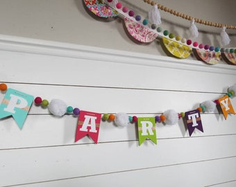 Party banner. Birthday sign. Birthday banner. Party sign. Party Garland. Felt ball garland. Pom pom garland