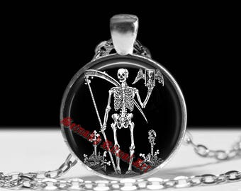 Death Reaper necklace, Santa Muerte pendant, Saint Death amulet, Mexican Skull jewelry, occult jewellery, Skeleton  fashion #55