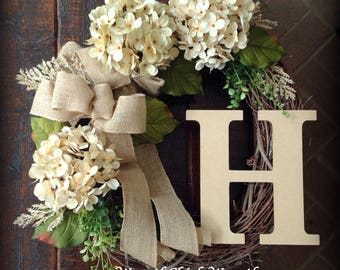 Wreath with initial, Winter door wreath, burlap wreath, wreath, Spring wreath, Farmhouse wreath, hydrangea wreath, All season wreath, wreath