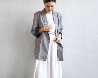 oversized blue and white checked blazer / boyfriend blazer / woven linen blend blazer / blue checked jacket