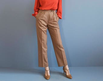 Giorgio St Angelo pleated wool pants / micro checked pleated pants / high waist pleated pants / high rise pants trousers / burnt orange pant