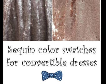 Sequin colour swatches for convertible dresses