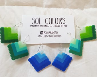 Bold Color Spectrum Square Earrings