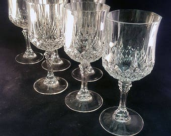 PREPAID SHIPPING...Set of 6 Cristal D'Arques Longchamp Goblets