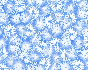 RJR Daisy Blue Fabric  Graceful Garden Blue Sky