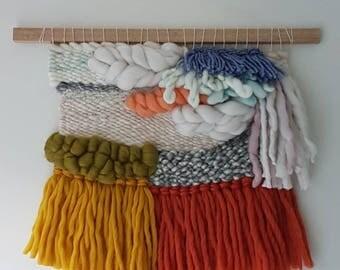 Medium weaved wall hanging in merino wool, scalloped edge/ READY TO SHIP