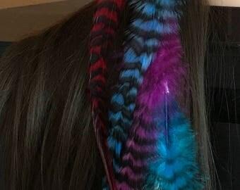 Feather hair clip, long feather, rainbow feather headband, edm , boho hair extension, hair feathers, native