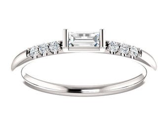 Any Color 14K Gold Stackable Round And Baguette Diamond Ring