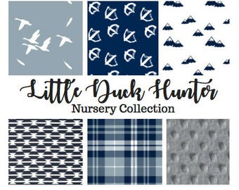 Little Duck Hunter Nursery Collection - Duck Hunting Crib bedding, Duck Hunting Baby Bedding, Lab dog crib bedding, Duck hunting Nursery
