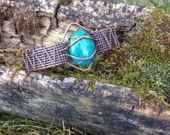 Copper Wire Wrapped Chrysocolla Bracelet cuff