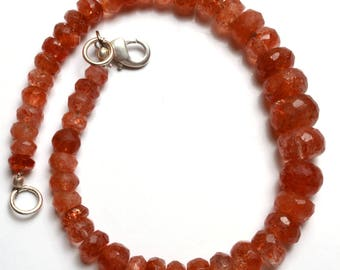 Natural Beads AAA quality 7.5 Inch Strand Super Finest-Quality-SUNSTONE Faceted Rondelle Beads bracelet 5 TO 10 mm size