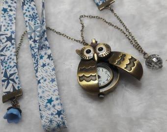 Blue Star Liberty OWL Pocket Watch necklace