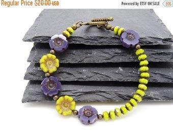 On Sale Czech Glass Bracelet, Flower Bracelet, Lavender Bracelet, Lime Bracelet, Chartreuse Bracelet, Ladies Bracelet, Summer Bracelet.