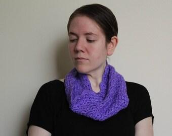 Crochet Cowl, Purple with a Scallop Edge