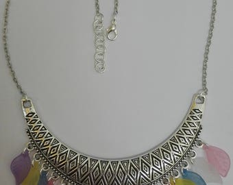 Silver charm necklace & leaf multi-color