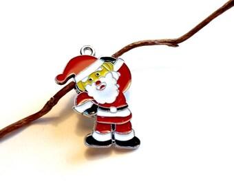 Set of 4 X silver plated enameled Santa NOEL2 gift box charm