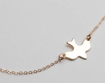 Delicate Flying Bird Charm Necklace