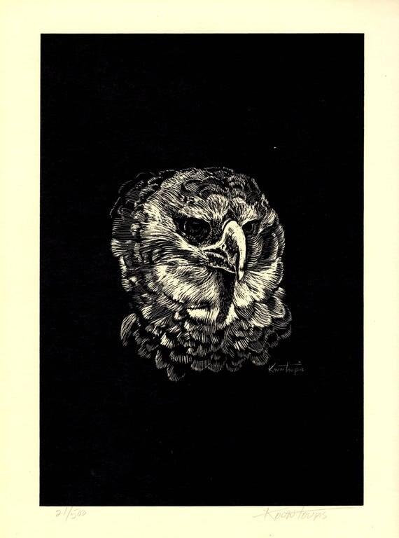 George Kontoupis Scratchboard print 21/500 of a Harpy Eagle