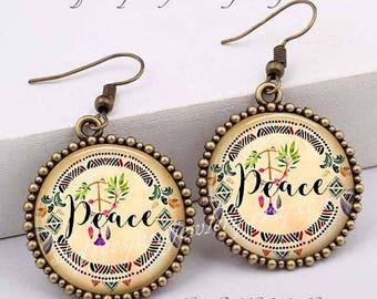 Peace Earrings,  Anti War earrings, Retro Jewelry, Boho Jewelry, Love Earrings, Hippie Jewelry,  Gift for Teen Girl, Gift for women