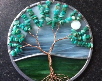 Amazonite gemstone tree of life suncatcher