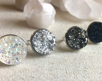 Large Druzy Ring - Custom Color with Silver Setting - Crystal Clear, Silver, Gunmetal, Midnight Black - Drusy Geode Ring - Gifts under 10