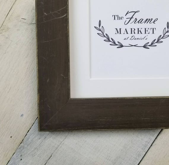 Blanaid Brown Distressed Wood Picture Frame With White Mat