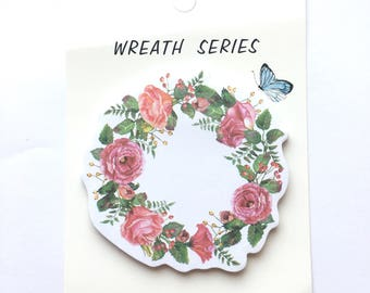 Pretty wreath memo pad