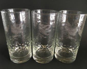 Vintage Iittala Mesi Set of 3 Crystal Highball Glasses/Tumblers -  - Mad Men Era, Man Cave
