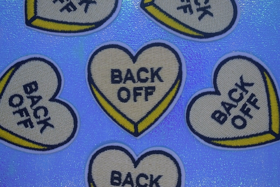 "Yellow ""Back Off"" Heart Iron on Patch"