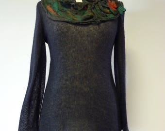 Artsy elegant black mohair sweater, L size.