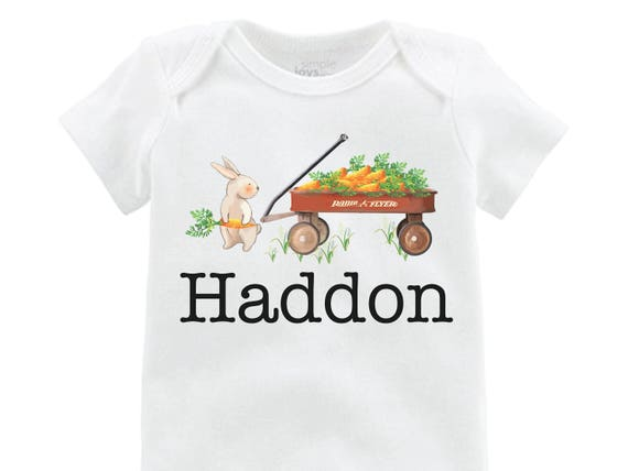 Boy Easter Shirt Bunny Onesie Personalized Wagon Shirt Baby Easter Shirt Easter Bunny Wagon and Carrots Bunny Shirt Monogram Name Shirt