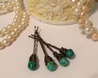 Green marble beaded bronze hair pins