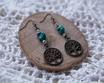 Tree Of Life Turquoise Stone Earrings Bronze Dangly