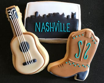 12 western COWBOY COWGIRL BOOTS inspired vanilla sugar cookies- bachelorette - wedding - western party - boy -girl state map -sheriff callie