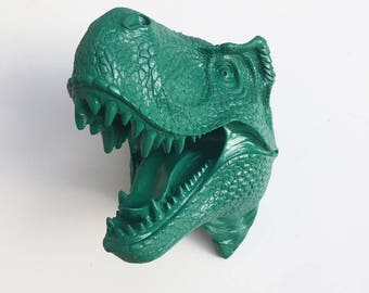 ANY COLOR or Emerald XL T Rex Head Dinosaur Wall Mount // Faux Taxidermy // Jurassic Park // Animal Sculpture // Boy's Room // Trophy Mount