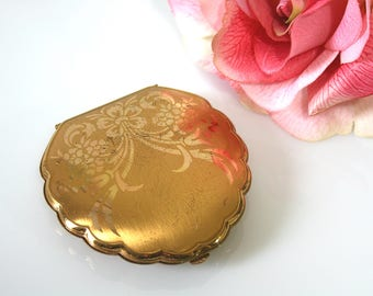 Vintage Elgin American powder compact gold floral mirror compact American Beauty collectible vintage cosmetic storage