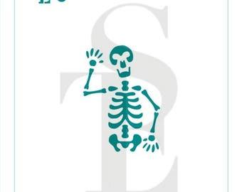 Waving Skeleton Stencil