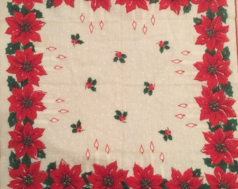 Vintage Christmas Poinsettia Handkerchief