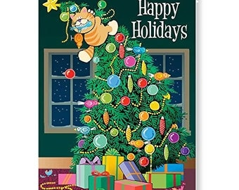 Funny Cat Christmas Card - 18 Funny Christmas Cards & Envelopes - KX373